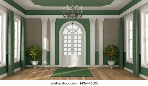 Home entrance of a luxury villa in classic style with closed front door - 3d rendering