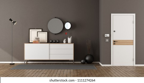 Home entrance with minimalist sideboard and closed front door - 3d rendering