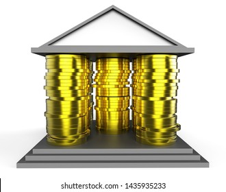 Home Equity Icon Cash Means Financial Line Of Credit From Property. Mortgage Or Loan Using Housing Ownership Collateral - 3d Illustration