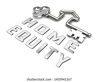 Home Equity Icon Key Means Financial Line Of Credit From Property. Mortgage Or Loan Using Housing Ownership Collateral - 3d Illustration