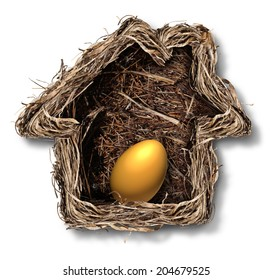 Home finances and residential equity symbol as a bird nest shaped as a family house with a gold egg as a metaphor for financial security planning and investing in real estate for retirement freedom.