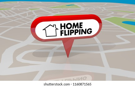 Home Flipping Buying Selling Homes Earning Income Map Pin 3d Illustration