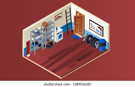 Home garage interior banner. Isometric illustration of home garage interior banner for web design