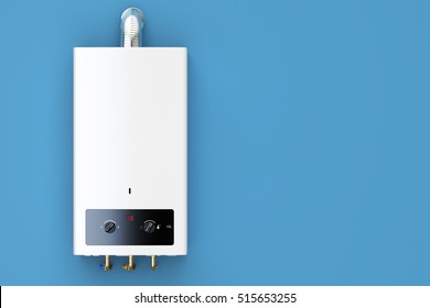 Home gas boiler, water heater. 3D rendering isolated on blue background