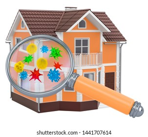 Home with germs and bacterias under magnifying glass. 3D rendering isolated on white background