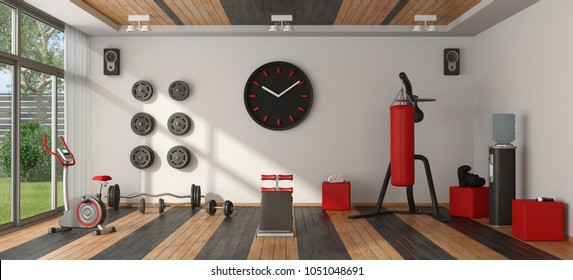 Home gym with punching boxer,cyle and other fitness equipment - 3d rendering
