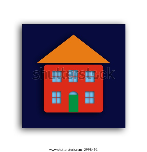 a home  icon with drop shadow