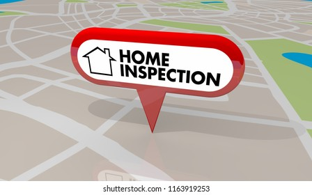 Home Inspection House Inspector Check Map Pin 3d Illustration