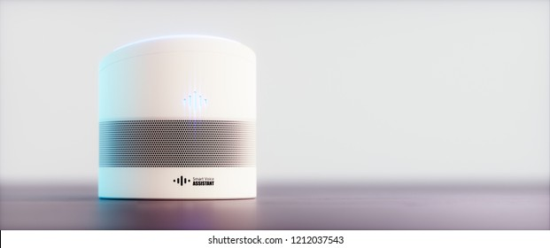 Home intelligent voice activated assistant. 3D rendering concept of white hi tech futuristic artificial intelligence speech recognition technology on light soft purple background. Utlrawide image.