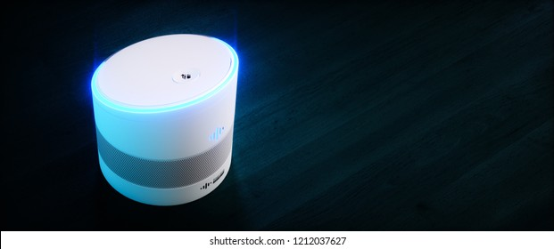Home intelligent voice activated assistant. 3D rendering concept of white hi tech futuristic artificial intelligence speech recognition technology on dark blue wood background.