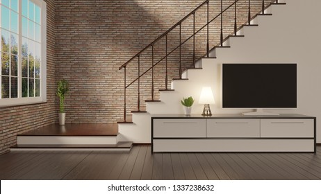Home interior with a brick wall and stairs. TV on a console. Wooden floor. 3D rendering.