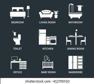 Home interior design icons for bedroom, living room, bathroom, kitchen, dining room, home office, wardrobe, baby room.