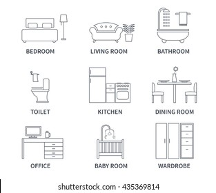 Home interior design icons for bedroom, living room, bathroom, kitchen, dining room, home office, wardrobe, baby room in line style. Icons set.