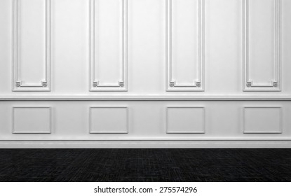 Home Interior of Empty Room with White Wall Decorated with Panelling and Dark Hard Wood Floor. 3d Rendering.