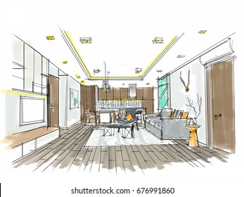 Home interior furniture with sofa armchair table. Living room drawing design.Free