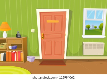 Home Interior Living Room/ Illustration of a cartoon home interior with living room door entrance, various household objects and window opened on a spring urban landscape
