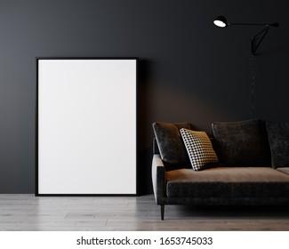 Home interior, luxury modern dark living room interior, black empty wall mock up, 3d rendering