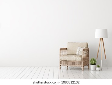 Home interior mock up with wicker rattan armchair, beige pillows, lamp and green plants in living room with empty white wall. 3D rendering.