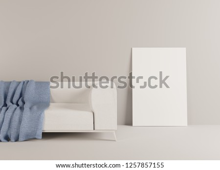 Home Interior Mockup Couch Covered Plaid Stock Illustration