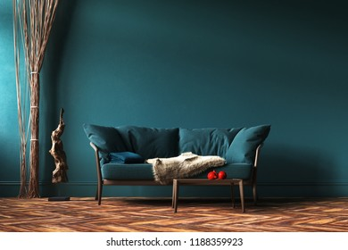Home interior mock-up with green sofa, rope curtains and table in living room, 3d render