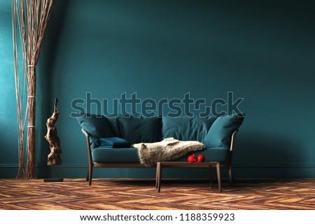 Home Interior Mockup Green Sofa Rope Stock Illustration Royalty