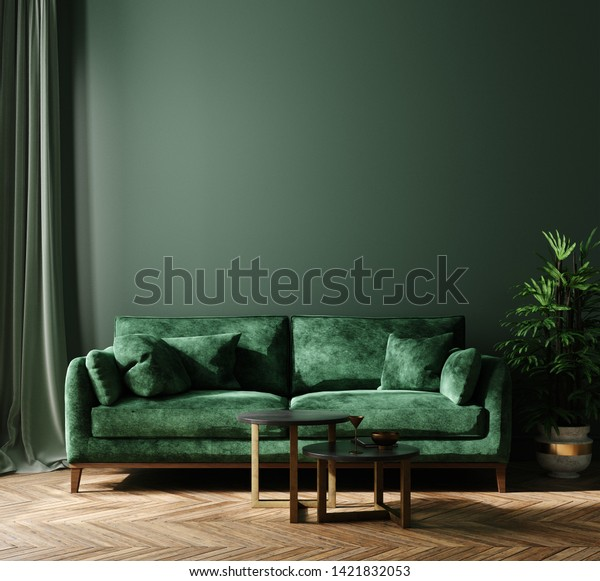 Home interior mock-up with green sofa, table and decor in living room, 3d render
