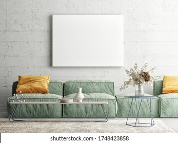 Home interior mock-up poster on concrete wall, sofa and decor in Living room, 3d render, 3d illustration