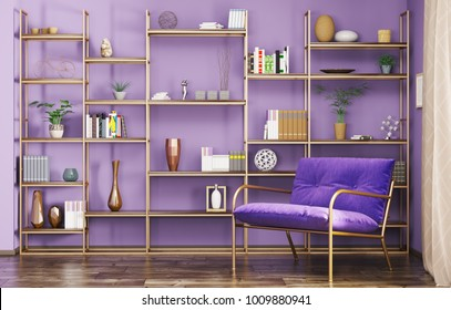Home interior of modern living room with armchair and bookshelf 3d rendering