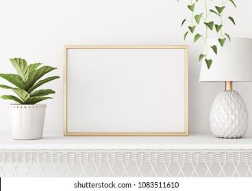 Home interior poster mock up with horizontal metal frame, plant in pot and lamp on white wall background. 3D rendering.