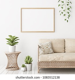Home interior poster mock up with horizontal empty wooden frame, wicker rattan sofa and plants in living room with white wall. 3D rendering.