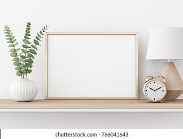 Home interior poster mock up with horizontal metal frame, plant in vase and lamp on white wall background. 3D rendering.