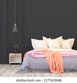 Home interior wall mock up with unmade bed, cushions and plant in pastel minimal bedroom. Free space. 3D rendering.