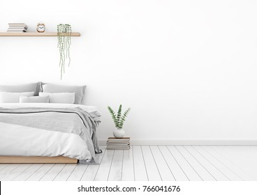 Home interior wall mock up with unmade bed, plaid,cushions and plant in white bedroom. Free space on right. 3D rendering.