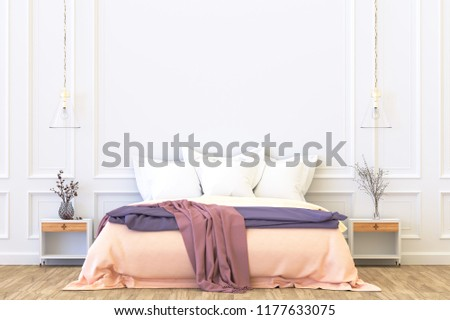 home interior wall mock unmade bed stock illustration 1177633075