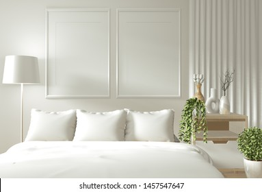 Home interior wall mock up with wooden bed, curtains and decoration japanese style in zen bedroom minimal design. 3D rendering.