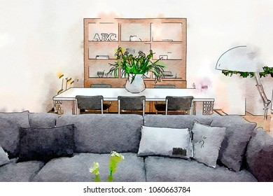 home interior, watercolor style