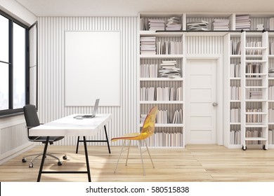 Home library with bookshelves by the sides of a door and a white table with computer. There are two chairs near it. 3d rendering. Mock up.