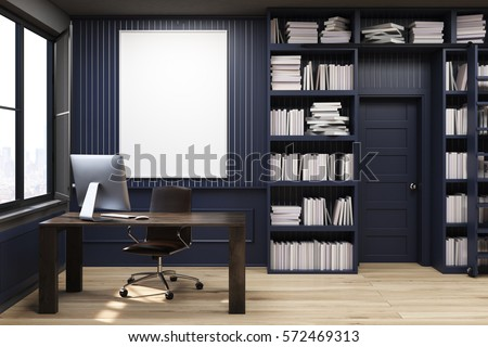 home library with bookshelves by the sides of a door and a brown table with computer - Home Library Bookshelves