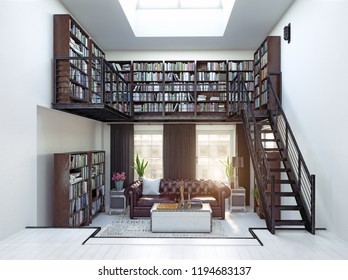 home library interior design. 3d rendering concept