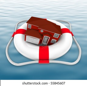 A home in a life preserver adrift at sea