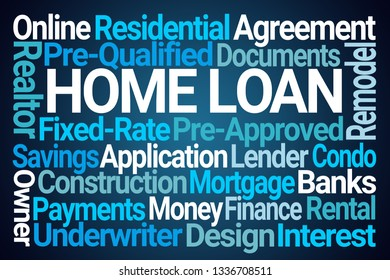 Home Loan Word Cloud on Blue Background