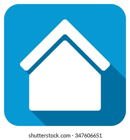 Home longshadow icon. Style is a blue rounded square button with a white rounded symbol with long shadow.