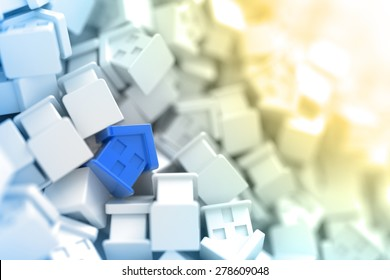 Home market background, original house three dimensional models.