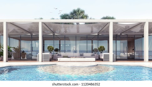 Home modern exterior and pool and patio 3D Rendering, 3D Illustration
