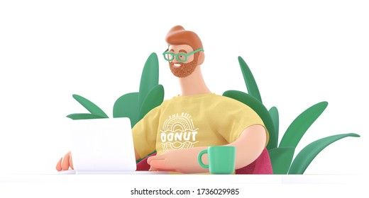 Home Office 3D render -modern concept digital illustration home office quarantine metaphor, a cartoon character, guy working at home sitting at the desk with a laptop. Creative landing web page header