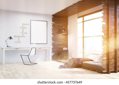 Home office and bed in studio apartment. Poster and wall lamp on white wall. Blanket on bed. Concept of comfortable lounging. 3d rendering. Mock up. Toned image