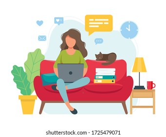 Home office concept, woman working from home sitting on a sofa, student or freelancer. Cute illustration in flat style
