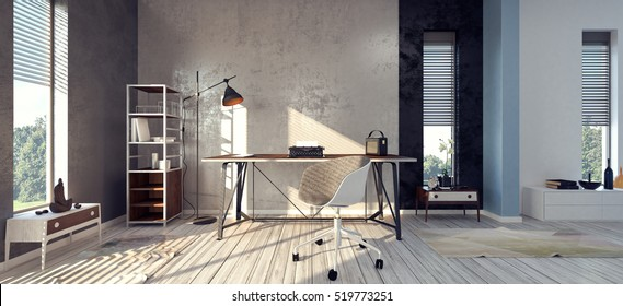 Home office interior 3D illustration, 3D rendering
