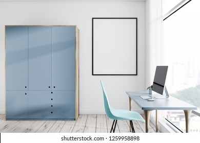 Home office interior with computer table with desktop on it, a blue chair, a gray closet and vertical poster. 3d rendering mock up