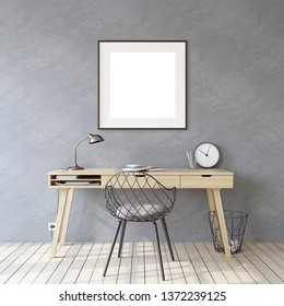 Home office. Interior and frame mockup. Wooden desk near gray wall. Black square frame on the gray wall. 3d render.